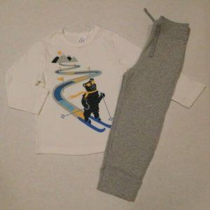 NWT 2pc Gap Ski Bear L/S Shirt & Gray Pants